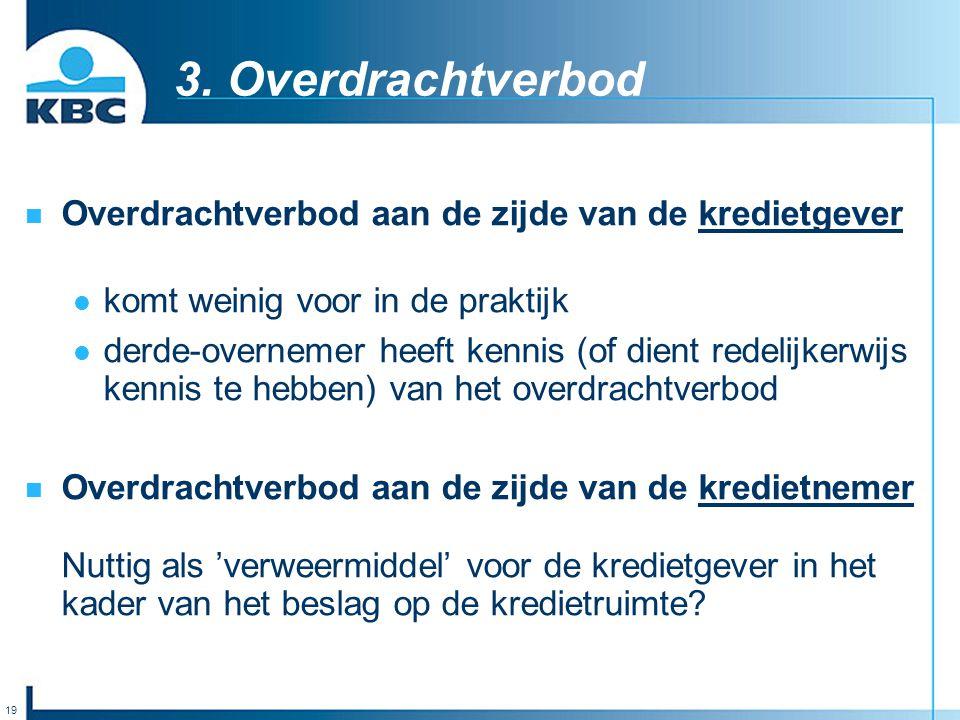 3. Overdrachtverbod Overdrachtverbod aan de zijde van de kredietgever