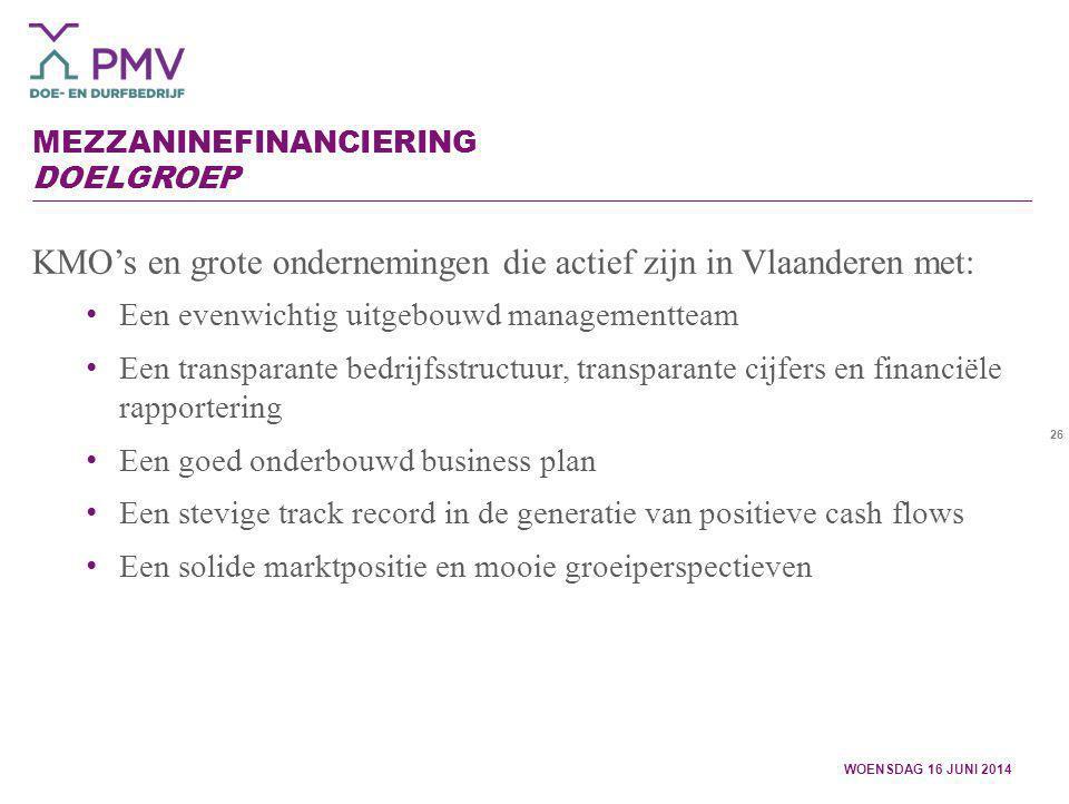 Mezzaninefinanciering Doelgroep