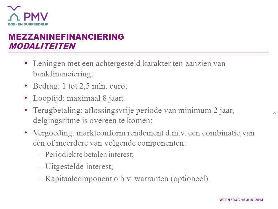 Mezzaninefinanciering Modaliteiten