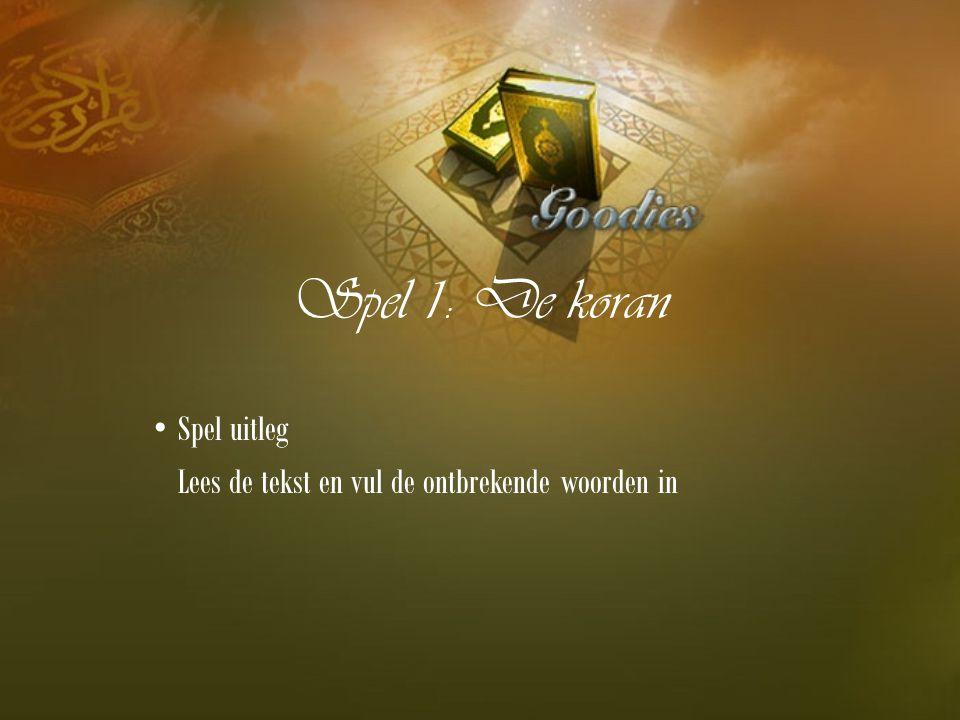 Spel 1: De koran Spel uitleg