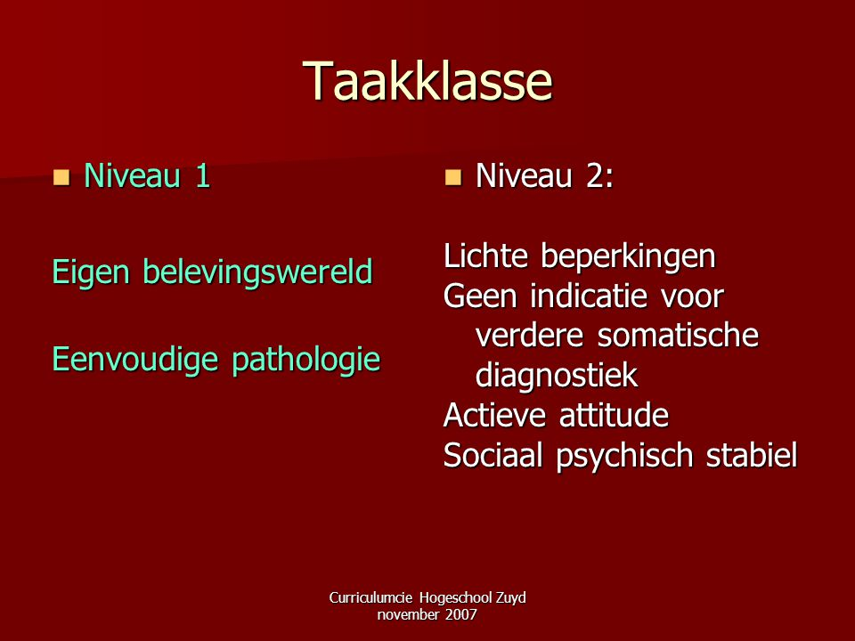 Curriculumcie Hogeschool Zuyd november 2007
