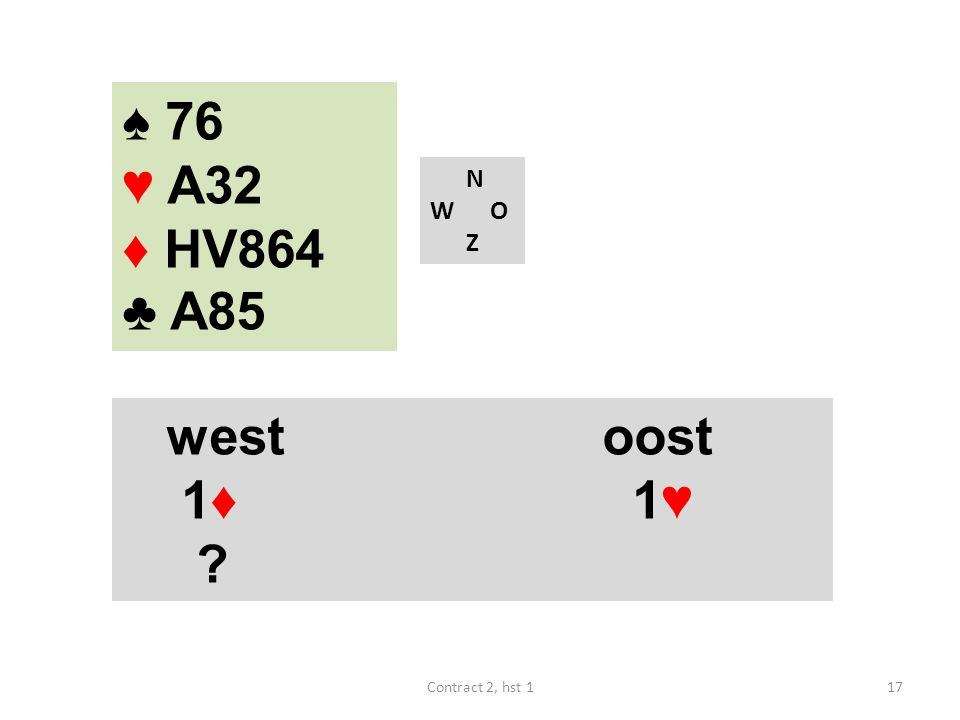 ♠ 76 ♥ A32 ♦ HV864 ♣ A85 N W O Z west oost 1♦ 1♥ Contract 2, hst 1
