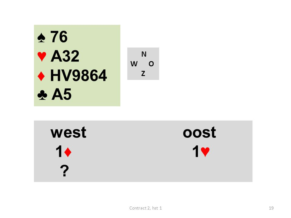 ♠ 76 ♥ A32 ♦ HV9864 ♣ A5 N W O Z west oost 1♦ 1♥ Contract 2, hst 1
