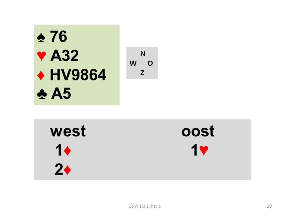 ♠ 76 ♥ A32 ♦ HV9864 ♣ A5 N W O Z west oost 1♦ 1♥ 2♦ Contract 2, hst 1