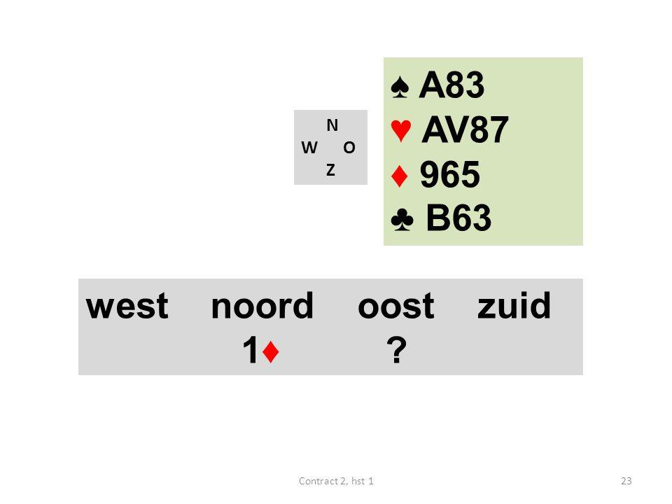 ♠ A83 ♥ AV87 ♦ 965 ♣ B63 west noord oost zuid 1♦ N W O Z