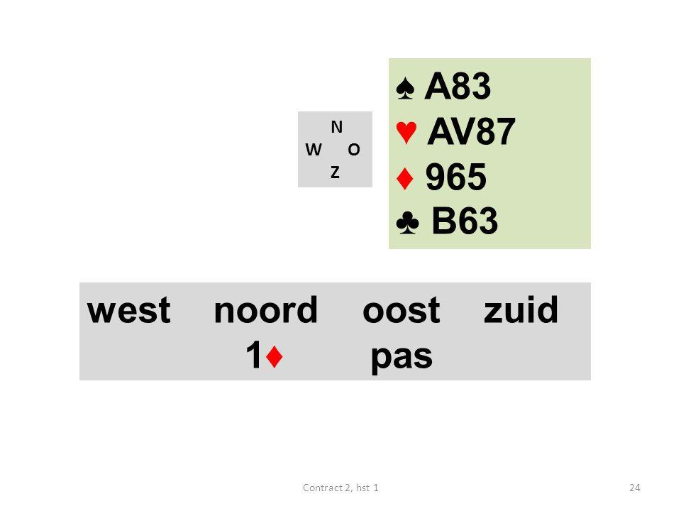 ♠ A83 ♥ AV87 ♦ 965 ♣ B63 west noord oost zuid 1♦ pas N W O Z