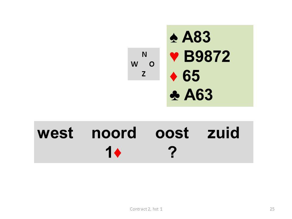 ♠ A83 ♥ B9872 ♦ 65 ♣ A63 west noord oost zuid 1♦ N W O Z