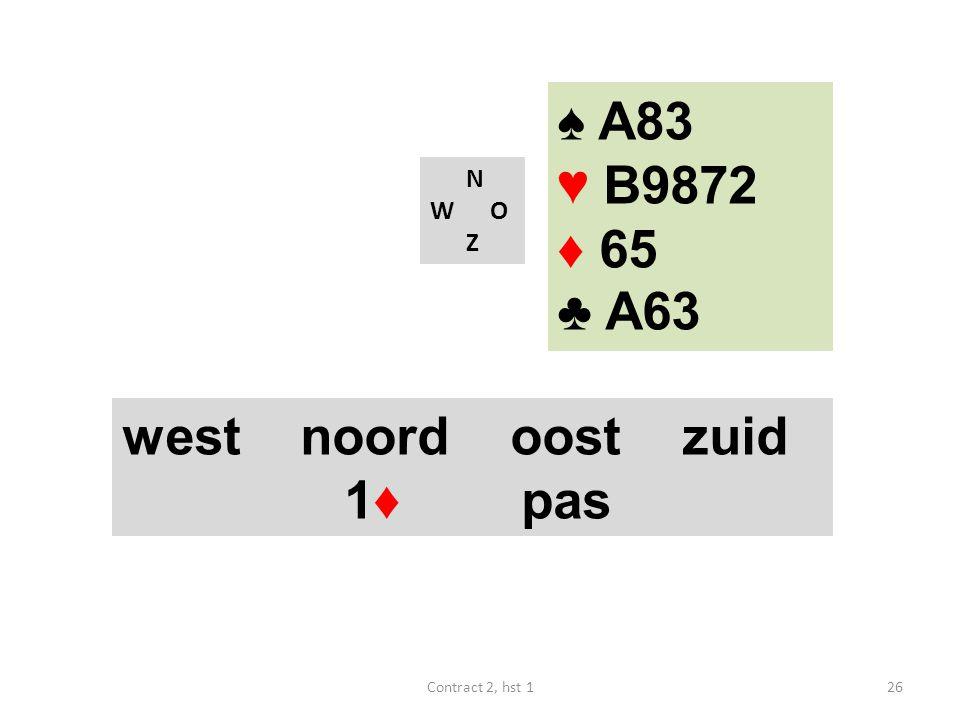 ♠ A83 ♥ B9872 ♦ 65 ♣ A63 west noord oost zuid 1♦ pas N W O Z