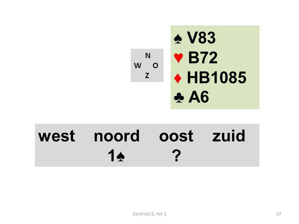 ♠ V83 ♥ B72 ♦ HB1085 ♣ A6 west noord oost zuid 1♠ N W O Z