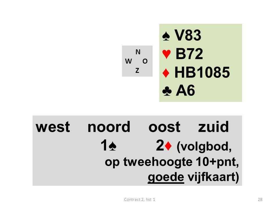 ♠ V83 ♥ B72 ♦ HB1085 ♣ A6 west noord oost zuid 1♠ 2♦ (volgbod,