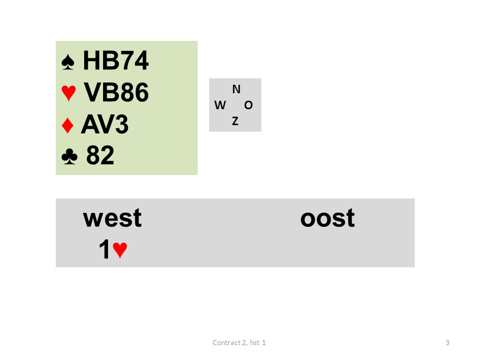 ♠ HB74 ♥ VB86 ♦ AV3 ♣ 82 N W O Z west oost 1♥ Contract 2, hst 1