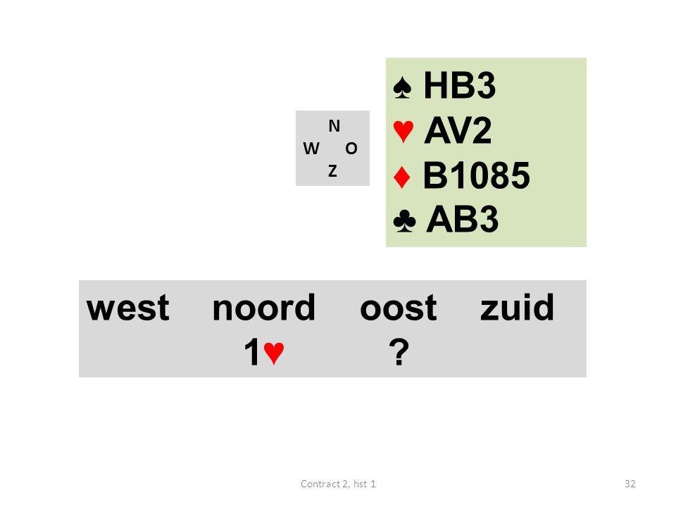 ♠ HB3 ♥ AV2 ♦ B1085 ♣ AB3 west noord oost zuid 1♥ N W O Z