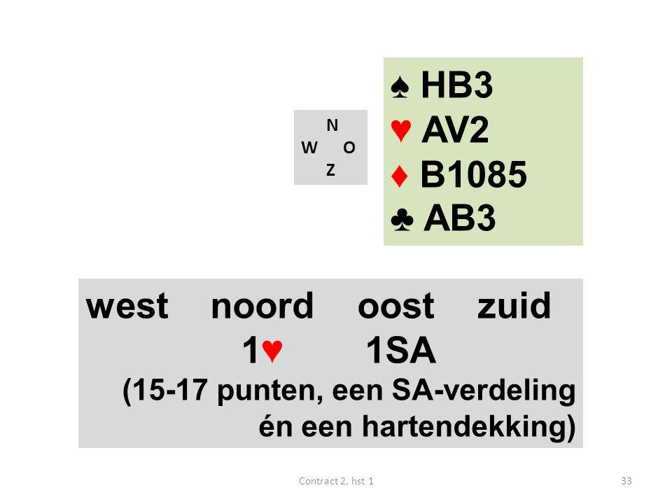 ♠ HB3 ♥ AV2 ♦ B1085 ♣ AB3 west noord oost zuid 1♥ 1SA