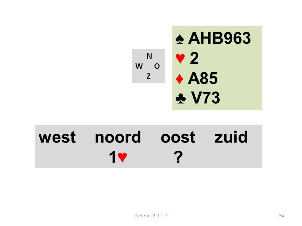 ♠ AHB963 ♥ 2 ♦ A85 ♣ V73 west noord oost zuid 1♥ N W O Z