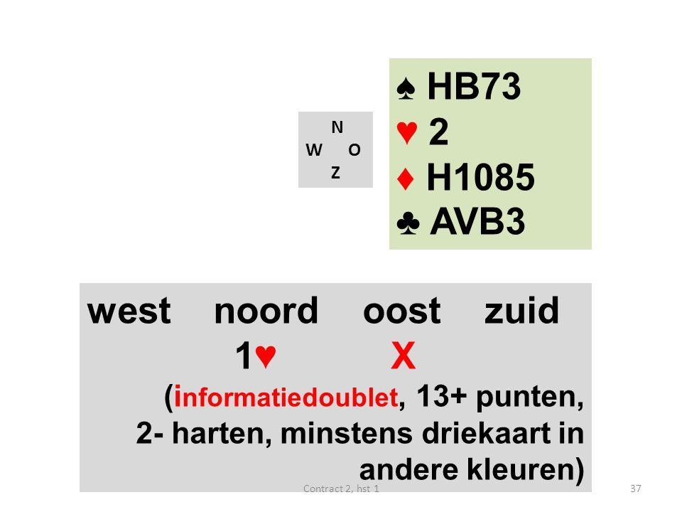 ♠ HB73 ♥ 2 ♦ H1085 ♣ AVB3 west noord oost zuid 1♥ X