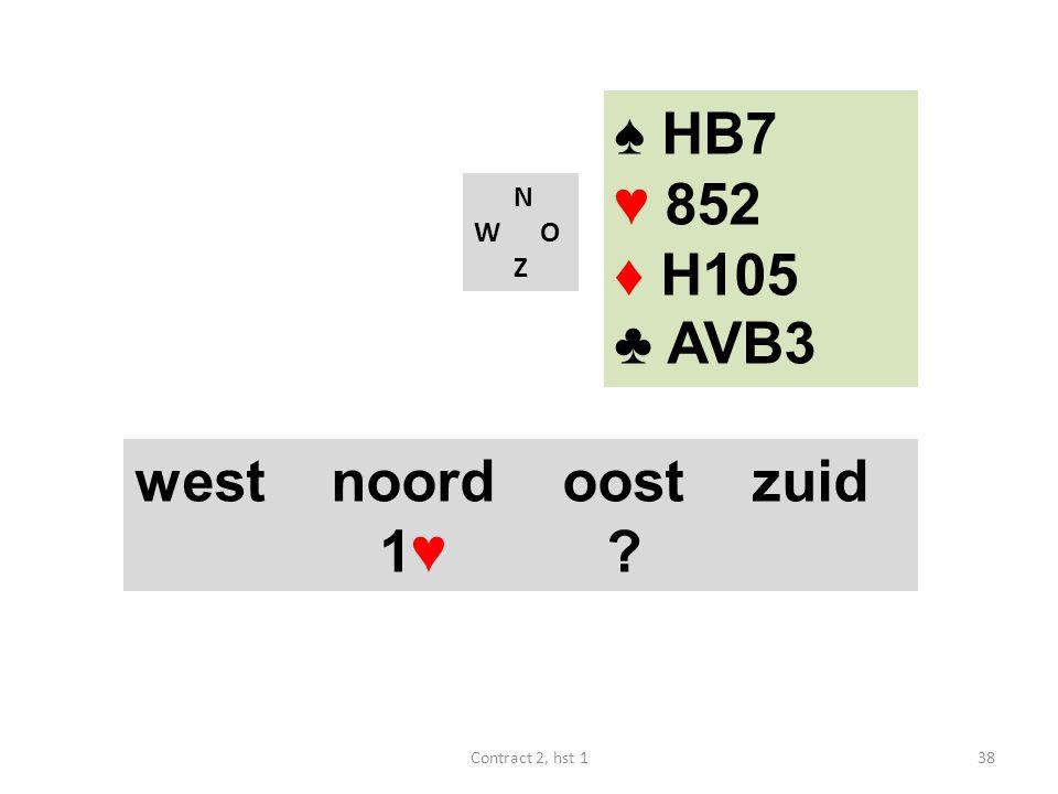 ♠ HB7 ♥ 852 ♦ H105 ♣ AVB3 west noord oost zuid 1♥ N W O Z