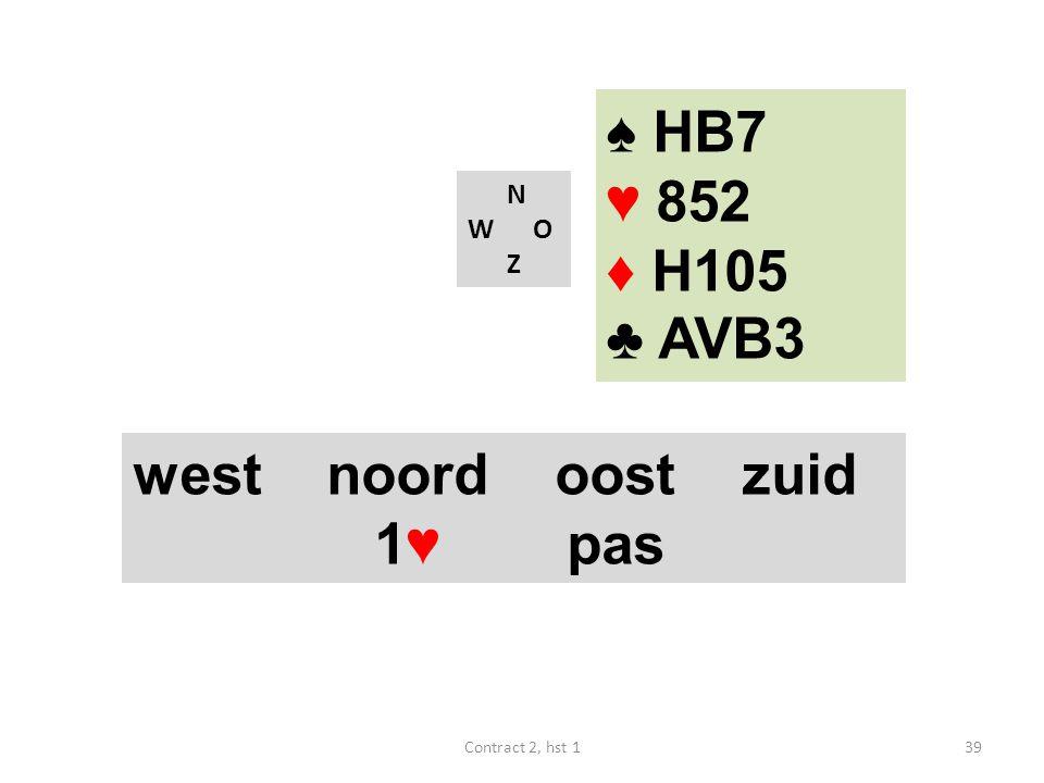 ♠ HB7 ♥ 852 ♦ H105 ♣ AVB3 west noord oost zuid 1♥ pas N W O Z