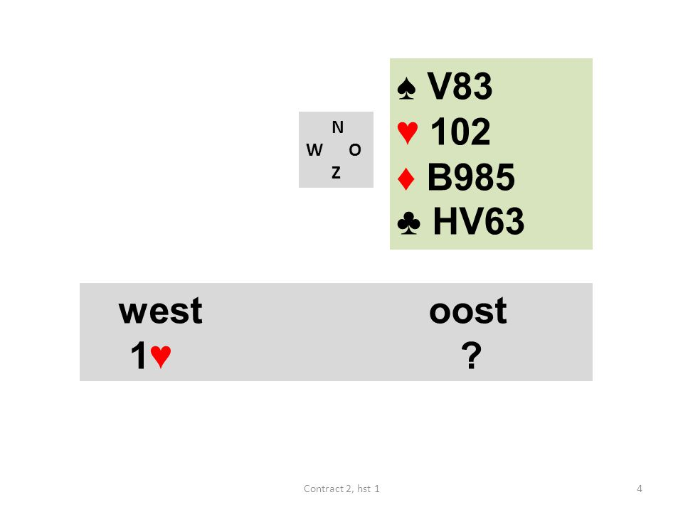 ♠ V83 ♥ 102 ♦ B985 ♣ HV63 N W O Z west oost 1♥ Contract 2, hst 1