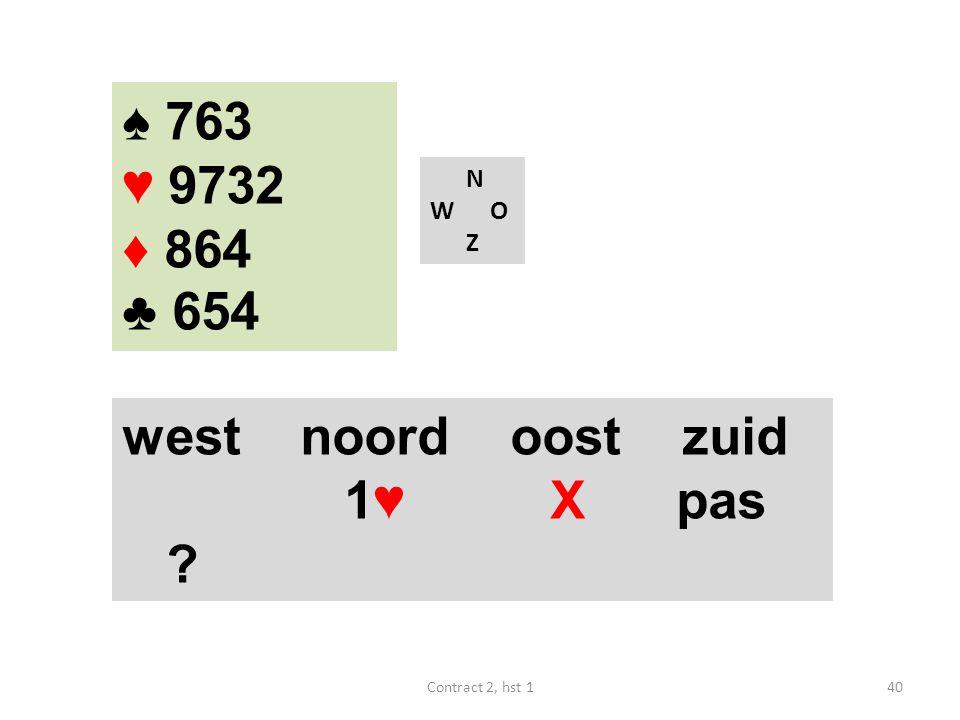 ♠ 763 ♥ 9732 ♦ 864 ♣ 654 west noord oost zuid 1♥ X pas N W O Z