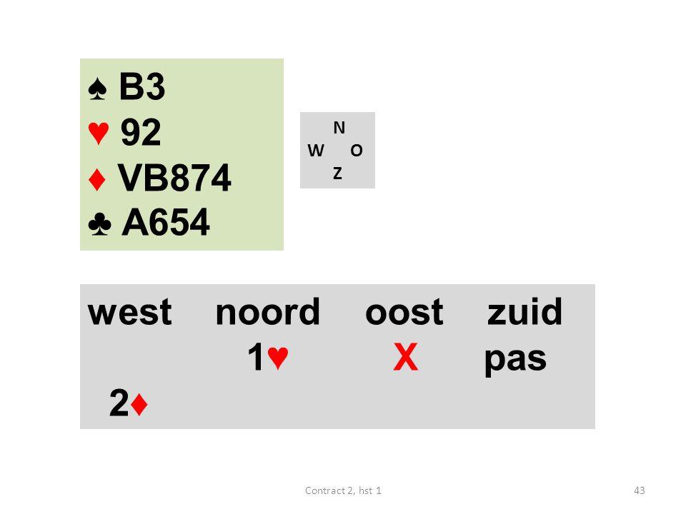 ♠ B3 ♥ 92 ♦ VB874 ♣ A654 west noord oost zuid 1♥ X pas 2♦ N W O Z
