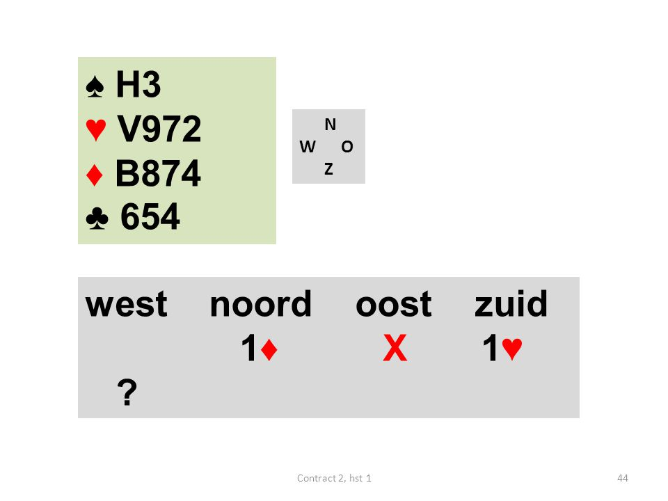 ♠ H3 ♥ V972 ♦ B874 ♣ 654 west noord oost zuid 1♦ X 1♥ N W O Z