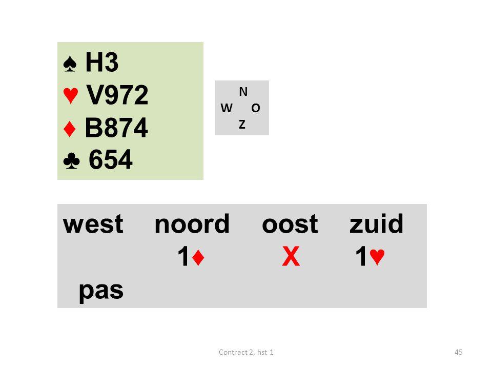 ♠ H3 ♥ V972 ♦ B874 ♣ 654 west noord oost zuid 1♦ X 1♥ pas N W O Z