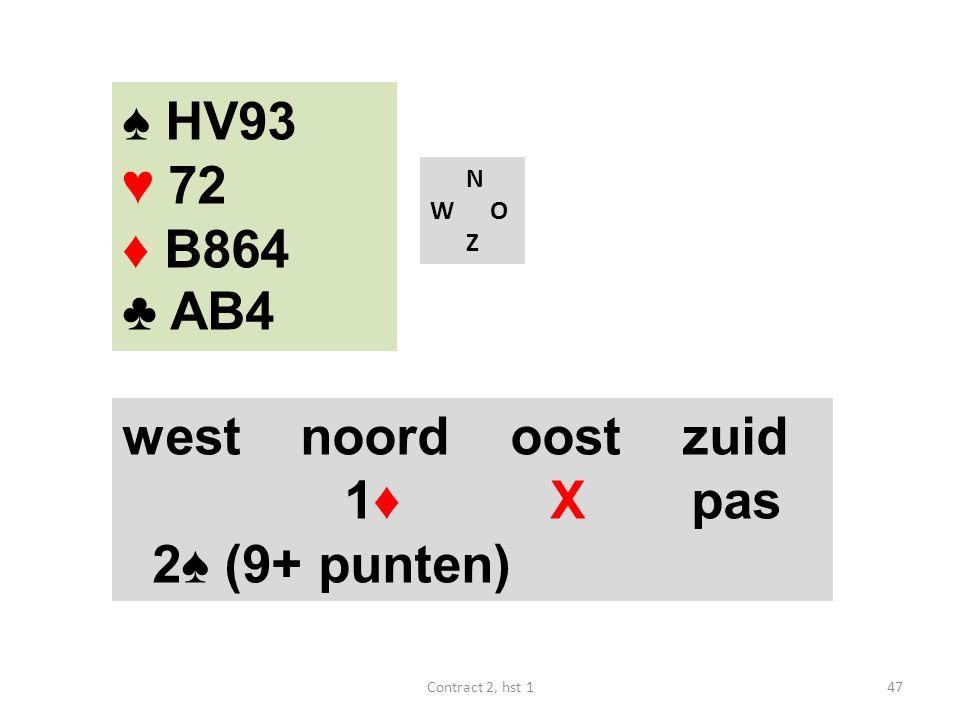 ♠ HV93 ♥ 72 ♦ B864 ♣ AB4 west noord oost zuid 1♦ X pas 2♠ (9+ punten)