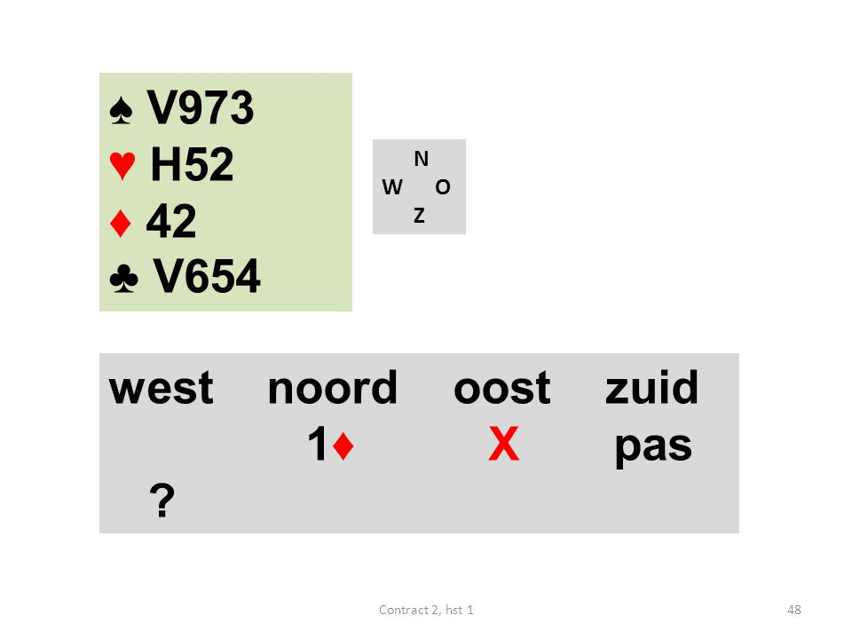 ♠ V973 ♥ H52 ♦ 42 ♣ V654 west noord oost zuid 1♦ X pas N W O Z