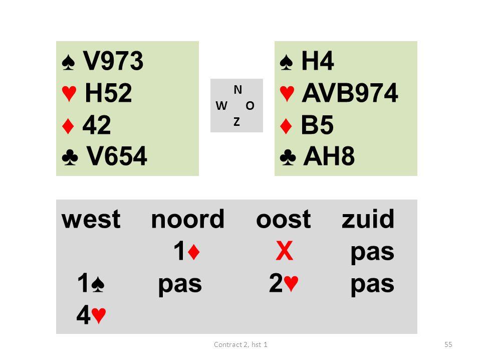 ♠ V973 ♥ H52 ♦ 42 ♣ V654 ♠ H4 ♥ AVB974 ♦ B5 ♣ AH8 west noord oost zuid