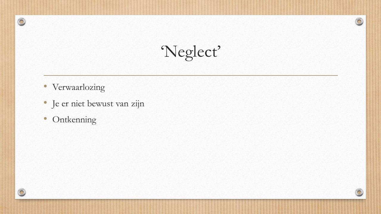 'Neglect' Verwaarlozing Je er niet bewust van zijn Ontkenning