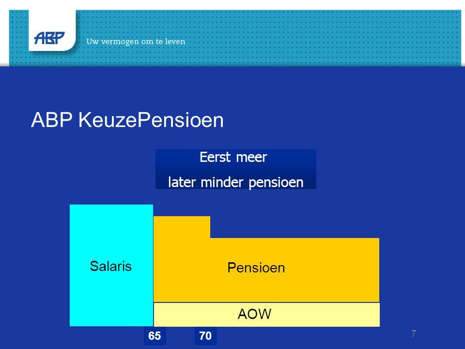 ABP KeuzePensioen Eerst meer later minder pensioen Salaris Pensioen