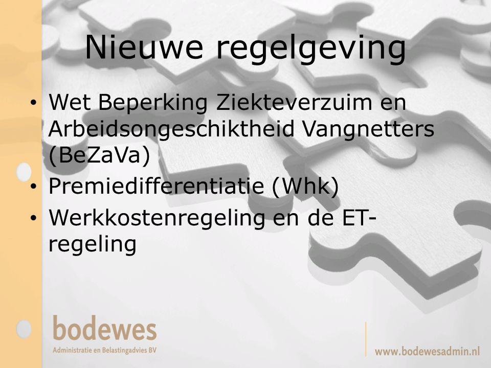 Nieuwe regelgeving Wet Beperking Ziekteverzuim en Arbeidsongeschiktheid Vangnetters (BeZaVa) Premiedifferentiatie (Whk)