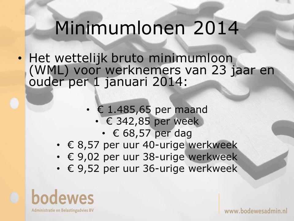 Minimumlonen 2014 Het wettelijk bruto minimumloon (WML) voor werknemers van 23 jaar en ouder per 1 januari 2014: