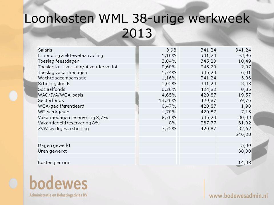 Loonkosten WML 38-urige werkweek 2013