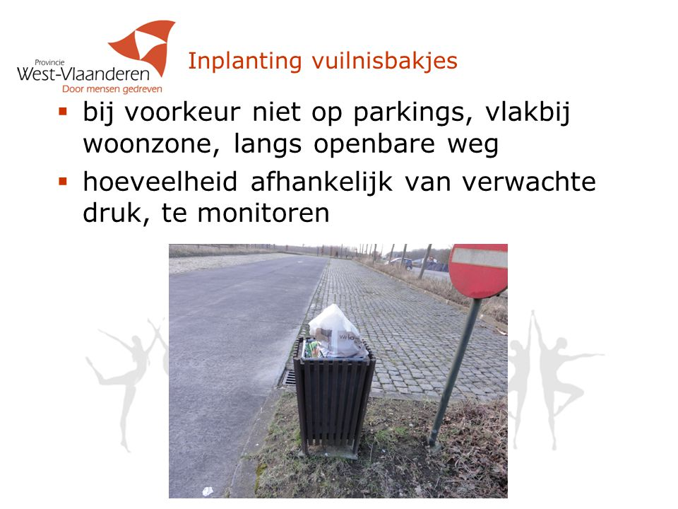 Inplanting vuilnisbakjes