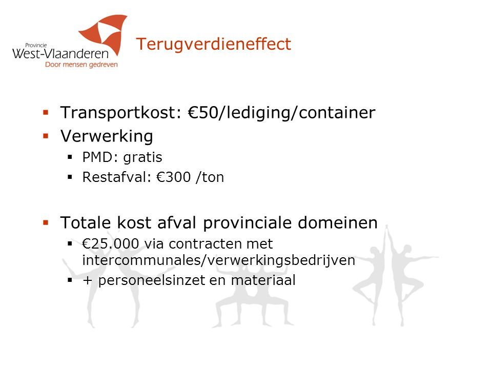Transportkost: €50/lediging/container Verwerking