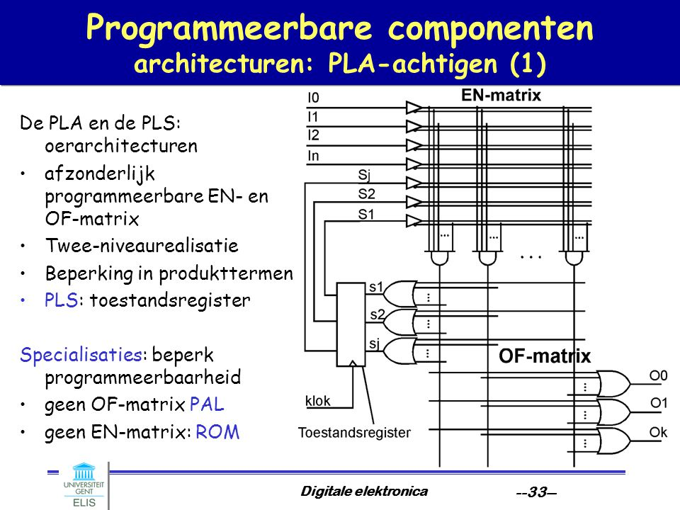 Programmeerbare componenten architecturen: PLA-achtigen (1)