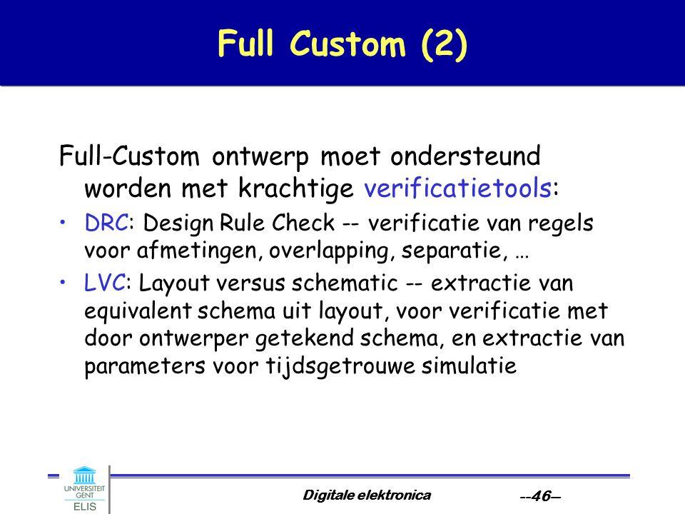 Full Custom (2) Full-Custom ontwerp moet ondersteund worden met krachtige verificatietools: