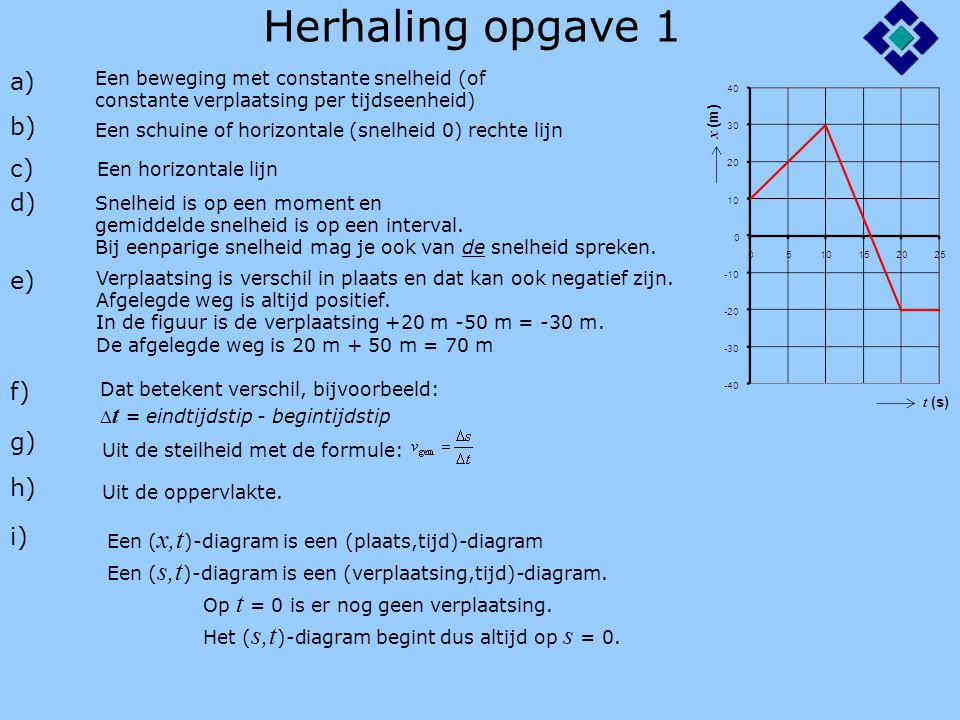 Herhaling opgave 1 a) b) c) d) e) f) g) h) i)