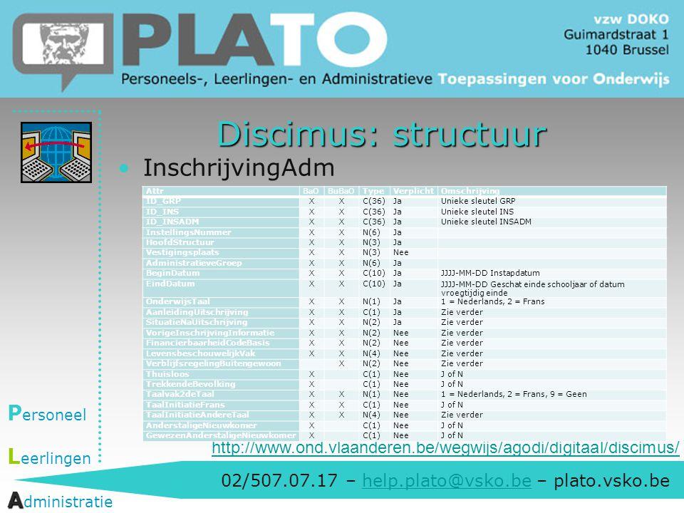 Discimus: structuur InschrijvingAdm