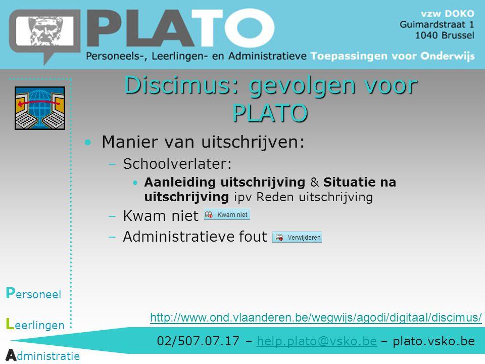 Discimus: gevolgen voor PLATO