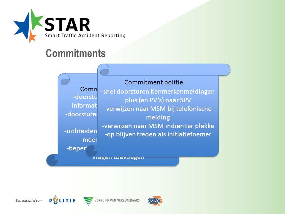 Commitments -snel doorsturen Kenmerkenmeldingen plus (en PV's) naar SPV. -verwijzen naar MSM bij telefonische melding.