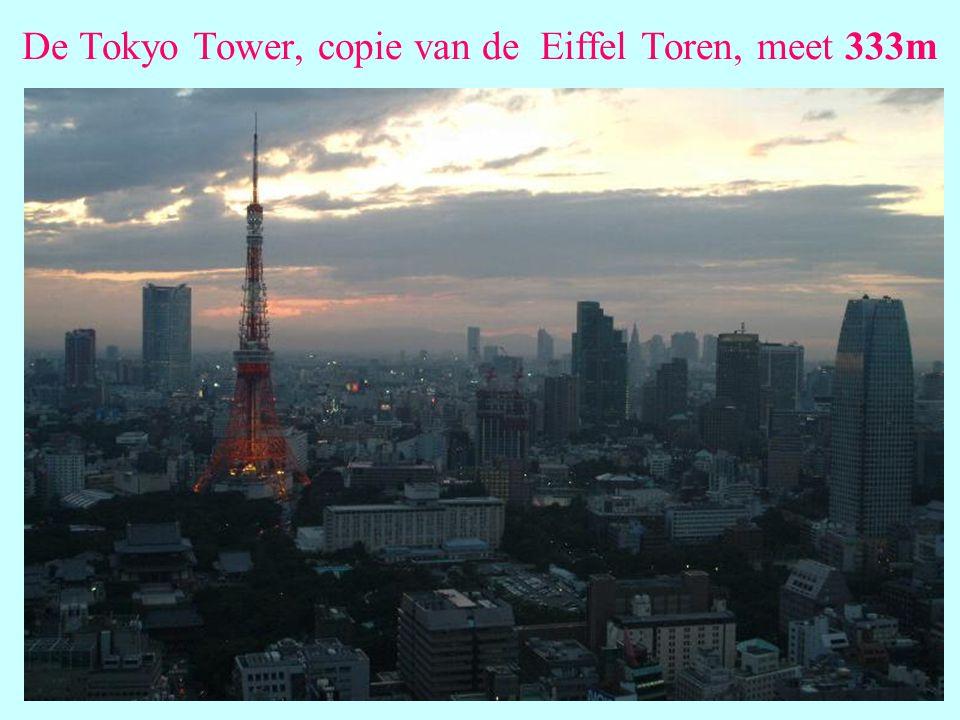De Tokyo Tower, copie van de Eiffel Toren, meet 333m