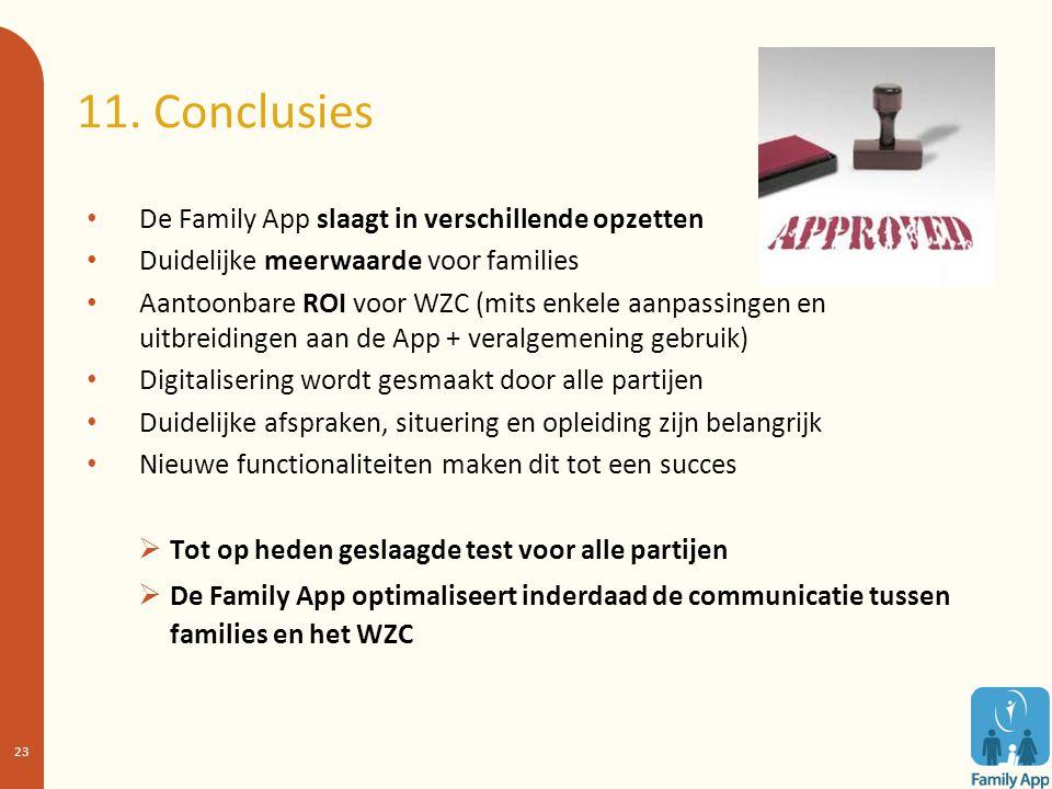 11. Conclusies De Family App slaagt in verschillende opzetten