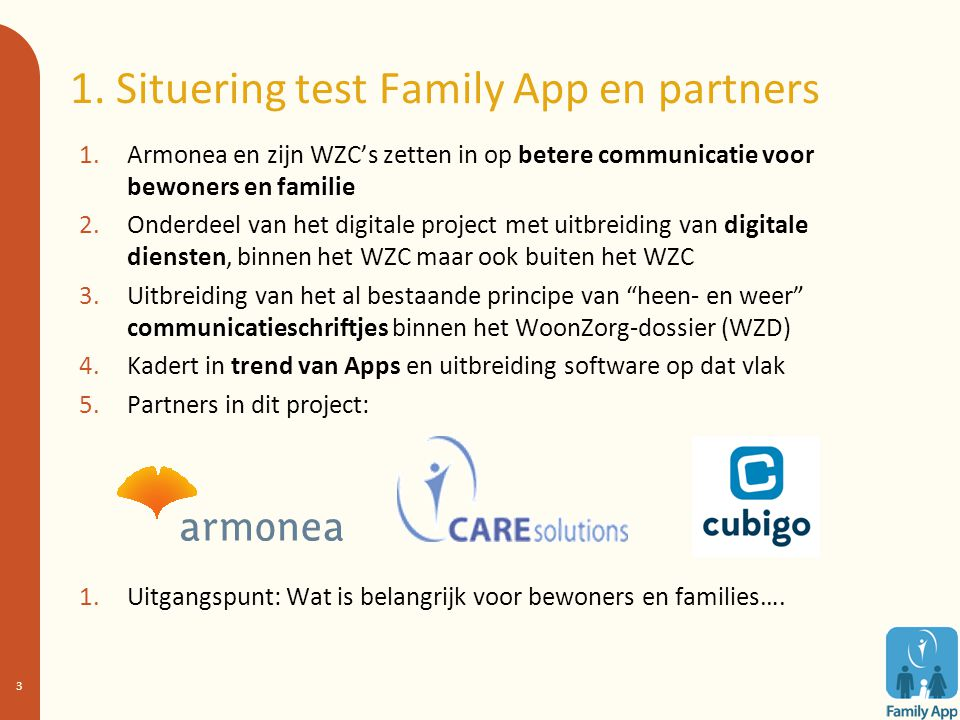 1. Situering test Family App en partners