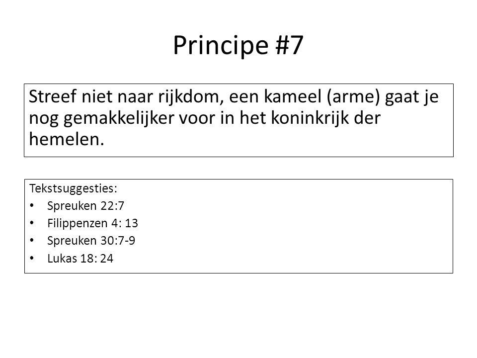 Principe #7 Streef niet naar rijkdom, een kameel (arme) gaat je nog gemakkelijker voor in het koninkrijk der hemelen.