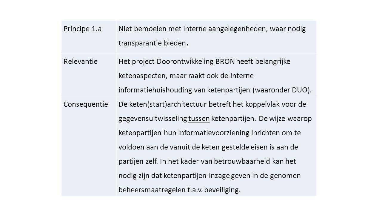 Principe 1.a Niet bemoeien met interne aangelegenheden, waar nodig transparantie bieden. Relevantie.