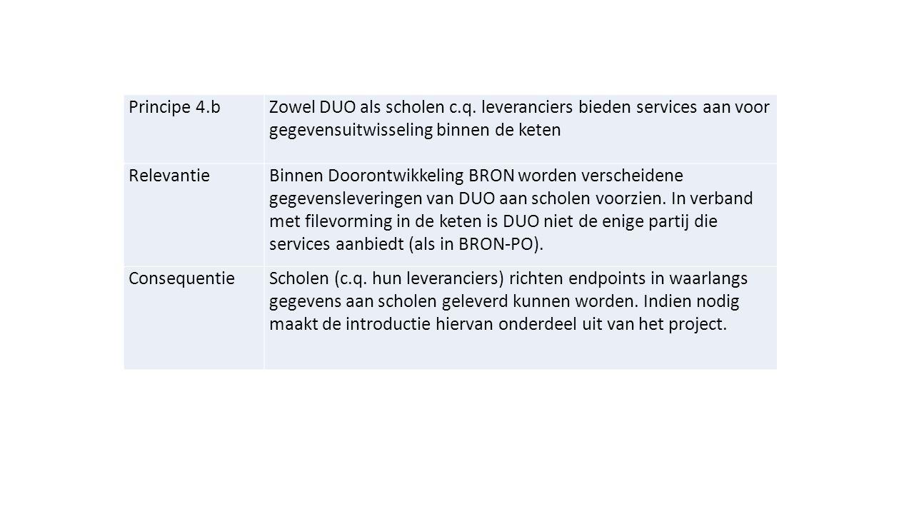 Principe 4.b Zowel DUO als scholen c.q. leveranciers bieden services aan voor gegevensuitwisseling binnen de keten.