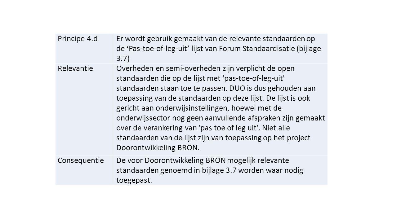 Principe 4.d Er wordt gebruik gemaakt van de relevante standaarden op de 'Pas-toe-of-leg-uit' lijst van Forum Standaardisatie (bijlage 3.7)