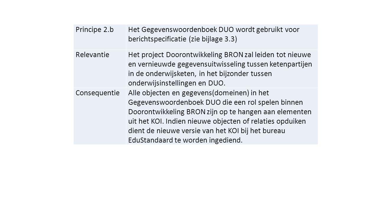 Principe 2.b Het Gegevenswoordenboek DUO wordt gebruikt voor berichtspecificatie (zie bijlage 3.3) Relevantie.